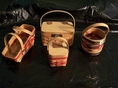Set of 4 Longaberger-like Miniature Baskets from Dresden, Ohio - dated 1990's