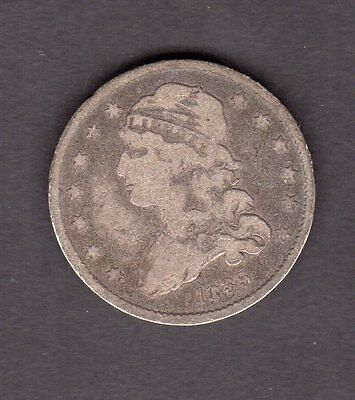 US 1835 Silver Capped Bust Quarter Coin in VG to F Fine Details Condition