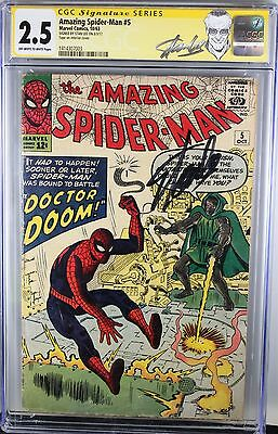 Amazing Spider-Man #5 Cgc 2.5 Vs. Dr. Doom Signature Series Stan Lee