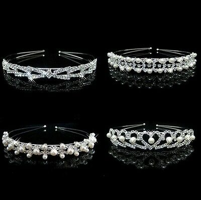 Crystal Rhinestone Pearl Headband Wedding Bridal Tiara Hair Band Head Piece Gift