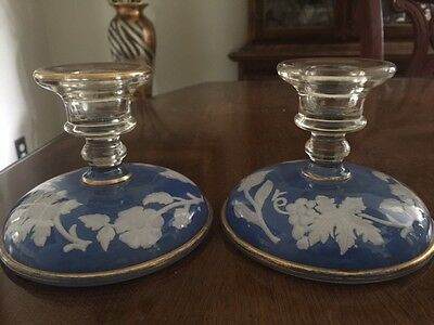 Beautiful Vintage Set of 2 Glass Candlestick Holders~Blue/White with Gold Trim~