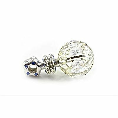 New Silver Plated Baby Boy Rattle Blue Diamantes Ornamental Christening Gift