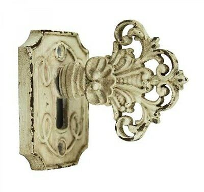 Furniture Door Knob With Keyhole Hook French Country Shabby Chic Vintage Cream