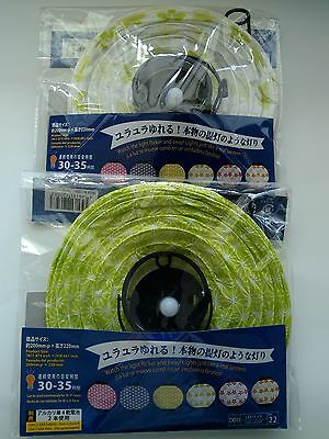 Japanese Design Mini Paper Lanterns Green Set of 2