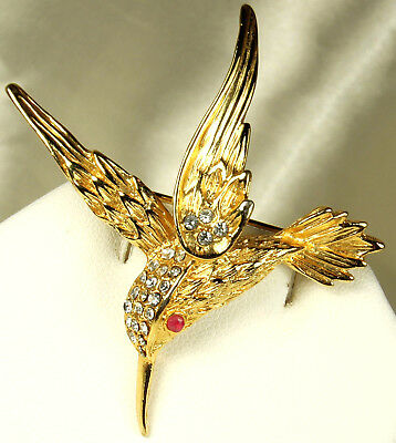 "Vintage GOLD Plated RHINESTONE HUMMINGBIRD Pin~2"" tall/wide~Ruby Eye~FAB Cond!!!"