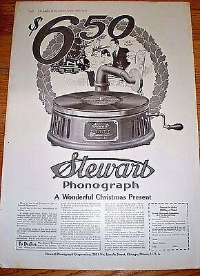 1916 Print Ad for the STEWART PHONOGRAPH ~ PRICED AT $6.50