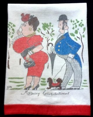 "Zito ""Morning Constitutional"" Tea Towel Colorful Humorous Picture, Red Trim,"