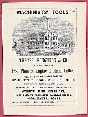 1855 Ad WORCESTER, MA ~ MACHINISTS' TOOLS ~ THAYER, HOUGHTON ~ WASHINGTON ST.