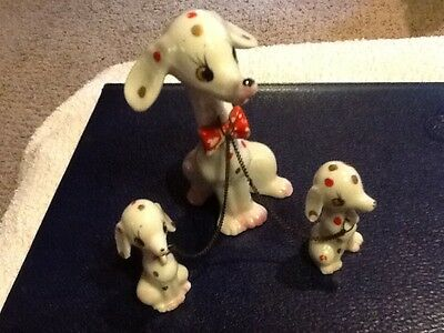 Vtg Antique Porcelain Japan Mother Dog With Two Puppies on Chain Figurine Calico