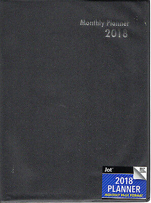 "2018 Large MONTHLY PLANNER Lined Calendar 10X7.5"" Executive CONTACTS BLACK THIN"