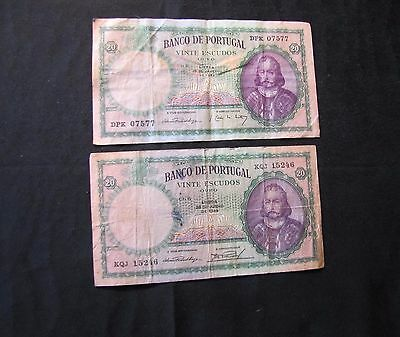 Lot of 2 Portugal 20 Escudos Notes - 1941 & 1949