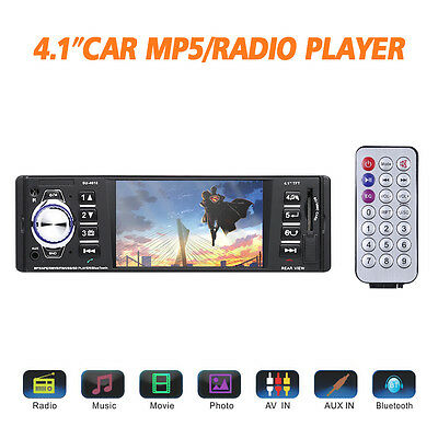 "Bluetooth Car Stereo 4.1"" HD TFT Screen Audio Video Player Single Din Rear View"
