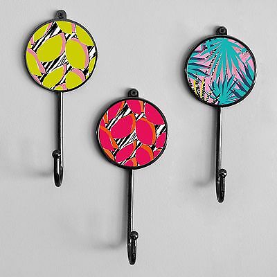 Colourful Tropical Patterned Wall Coat Jewellery Hooks Hangers