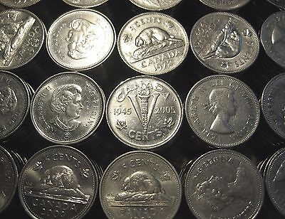 [40] Canada 5 Cents Nickels (1956-2012) mixed lot roll