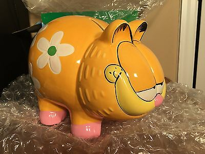NEW IN BOX 1997 Rare Garfield The Cat Ceramic Piggy Bank Vintage Paws Mascot