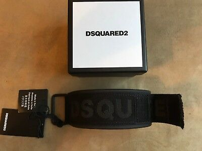 Dsquared² Black Techno Japan Leather Signature Wristband Cuff Bracelet Armlet S
