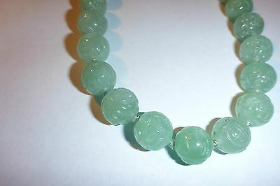 ANTIQUE VINTAGE Hand Carved JADE BEAD Necklace - Incredible Detail - 20""