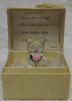 Get Well Gift New Hand Sculpted Glass Teddy In Display Box 22kt Gold With Verse