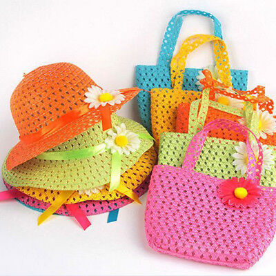 Baby Kids Girls Flower Straw Sun Hat Summer Beach Cap & Handbag Shoulder Bag