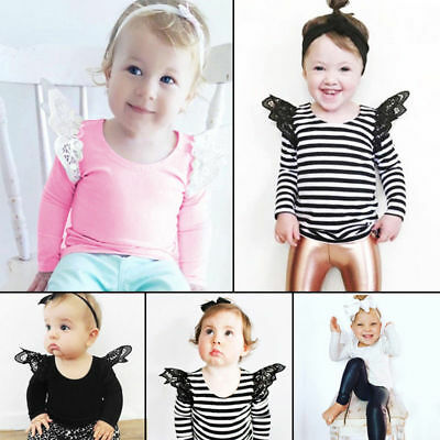Sweet Kids Newborn Baby Girls Long Sleeve Blouse Tops Lace T shirt Tee
