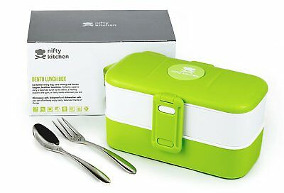 Nifty Kitchen Bento Box - Two Compartment Japanese Style Lunch Box with Cutlery