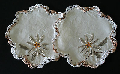 Exquisitely Hand Embroidered 2 X Linen Doilies ~ High Teas, Vintage Textiles
