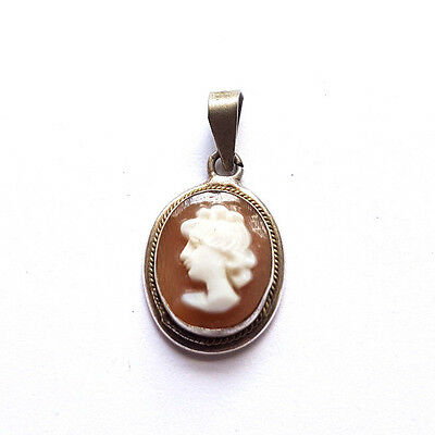 Antique Vintage Real Shell Miniature Cameo Pendant Charm