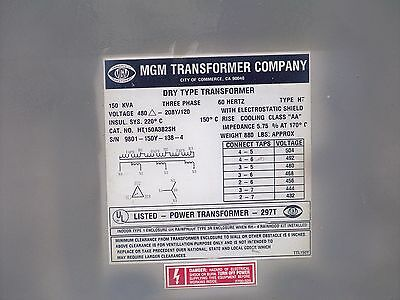 150 KVA 480 delta to 208Y120 transformer with taps MGM HT150A3B2S