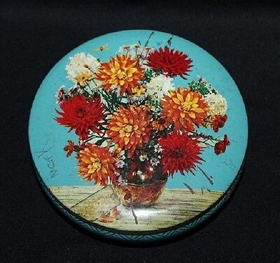 1950'S JG Coles & Co Ltd Vintage Toffee Tin Blue Tin Colourful Flower Motif