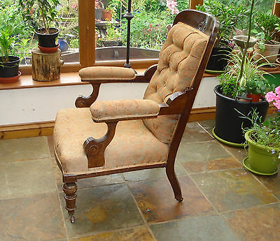 Victorian Upholdered Elbow Arm Chair - Antique - Somerset