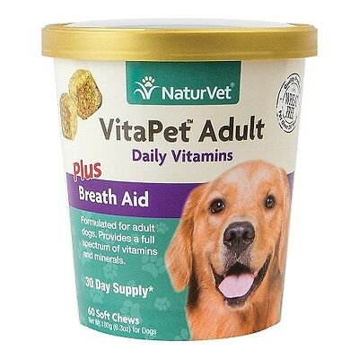 VitaPet SOFT Chews NaturVet Adult Dogs Daily Vitamins Plus Breath Aid 60ct Cup