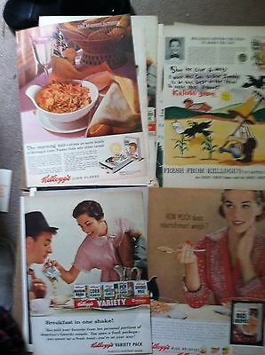 "500 CEREAL MAGAZINE 10x14"" ADS 1940s-50s 5c EA POST KELLOGG GENERAL MILLS 10 lbs"