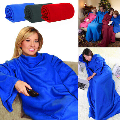 Sleeved Super Soft Snuggie Fleece Blanket Warm Snuggle Wrap Blue Red & Black