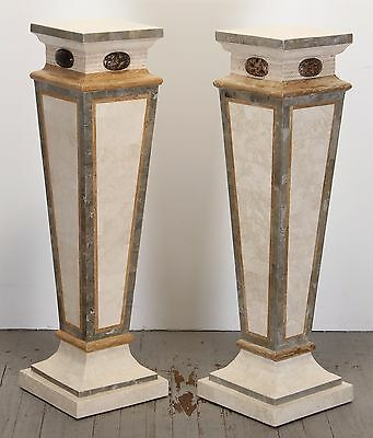 Pair of Maitland Smith Style Tessellated Marble Pedestals, 1995