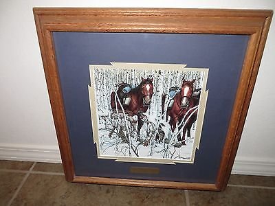 Bev Doolittle Framed Print Two Indian Horses Double Matted With Brass Id Plaque