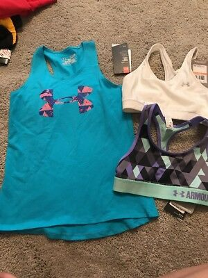 Under Armour Girls Workout Dance Gymnastics Lot Sports Bras Tank Top Small