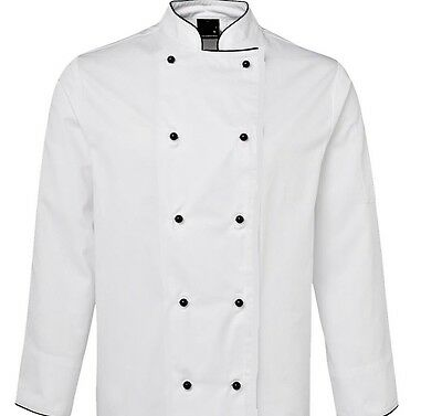 Jensal Chef Coat Jacket White With Removable Buttons Unisex Restaurant Quality