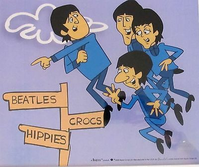 THE BEATLES IN AIR Framed Animation Cartoon Sericel Cel