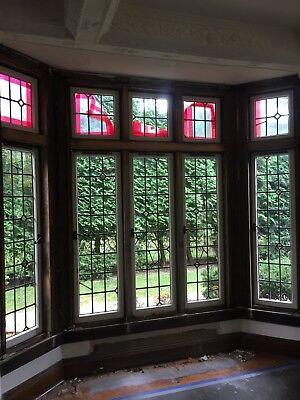 Pg 17 10 Piece Landing Leaded Glass Window Set