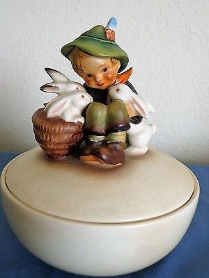 Vintage Hummel Playmates Boy with Rabbits Covered Bowl 5.5 inch West germany