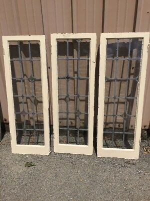Pg 16 Three-Piece Antique Leaded Glass Window Unit 53 Inch H By 18.2 5W
