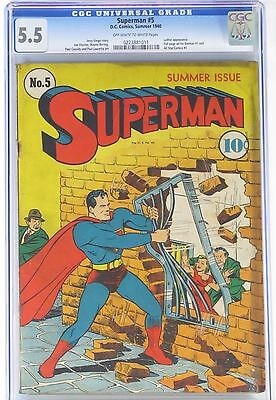 Superman #5, CGC 5.5 OW to WP, Summer 1940 DC Comics for $3,800 - Free S&H
