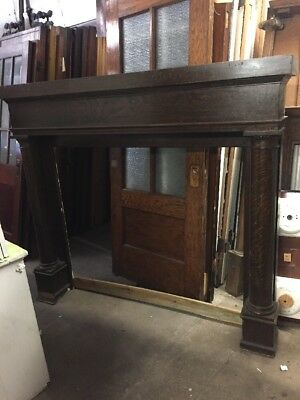Cm 105 Antique Quarter Sawn Oak Oversized Fireplace Mantel 70 2W By 63.7 5H