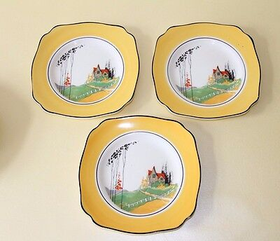 Vintage WOODS Ivoreen China   Art Deco   3 x Side Plates         6.2 inches  dia