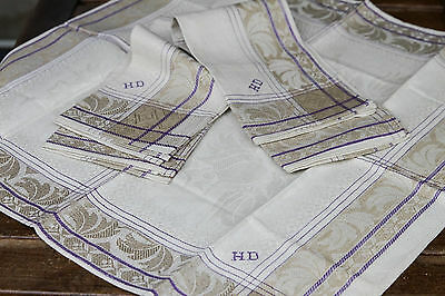 3x Leinen Geschirrtücher/Sets um 1925,3x Art Deco Design Linen Towels