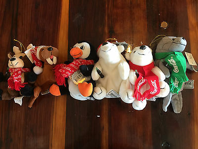 Lot of 6 Different 1998 Coca-Cola Coke Plush Animals Bears Seal Christmas