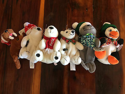 Lot of 6 Different 1993 1997 Coca-Cola Coke Plush Animals Bears Seal Christmas