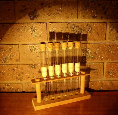 Vintage TEST TUBES & STAND SPICE RACK Vase Incense Holder INDUSTRIAL STEAMPUNK