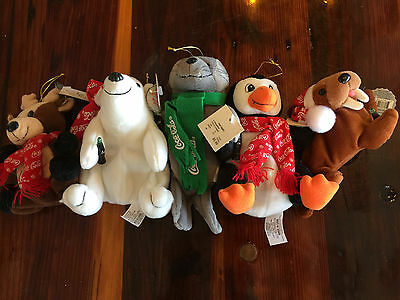 Lot of 5 Different 1998 Coca-Cola Coke Plush Animals Bears Seal Christmas