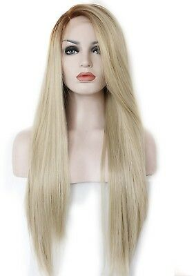 Kryssma Womens Blonde Ombre Side Part Synthetic Lace Front Wigs Straight Hair